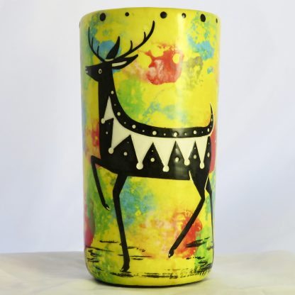 Mana Pottery deer tumbler on bright yellow