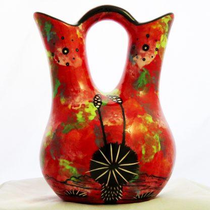 Mana Pottery medium size Wedding Vase with kissing hummingbirds and Aravaipa desert vegetation on crimson background