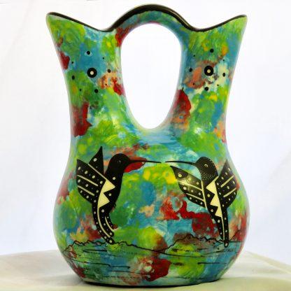 Mana Pottery medium size Wedding Vase with kissing hummingbirds and Aravaipa desert vegetation on turquoise blue background