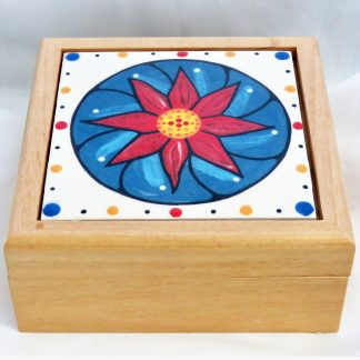 "Mana Pottery wooden box featuring 4"" square tile with blue peyote design."
