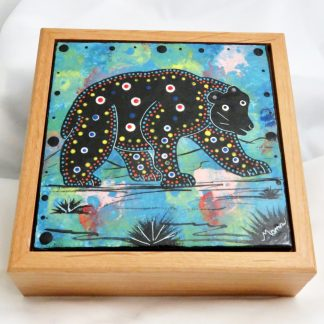 "Mana Pottery wooden box with 6"" square tile featuring bear design on turquoise blue."
