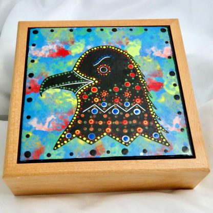 """Mana Pottery wooden box with 6"""" square tile featuring eagle head."""