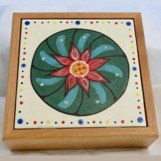 "Mana Pottery wooden box with 6"" square tile featuring green peyote design."