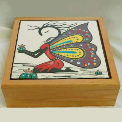 "Mana Pottery wooden box with 6"" tile featuring Peyote Guardian Spirit design."