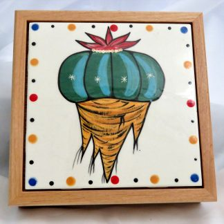 "Mana Pottery wooden box with 6"" square tile featuring peyote root."
