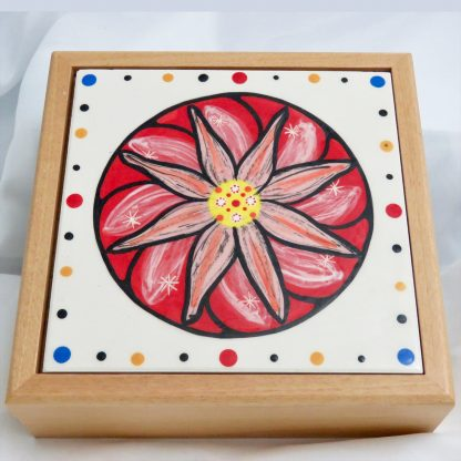 "Mana Pottery wooden box with 6"" square tile featuring red peyote design."
