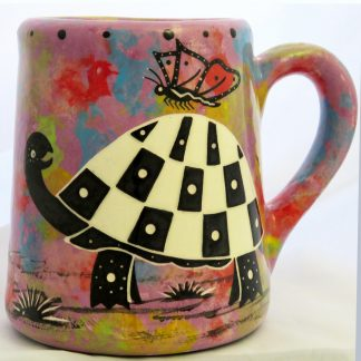 Mana Pottery extra large mug with turtle on violet