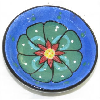 "Mana Pottery tea bag holder featuring green peyote design. 3"" in diameter and 1"" high."