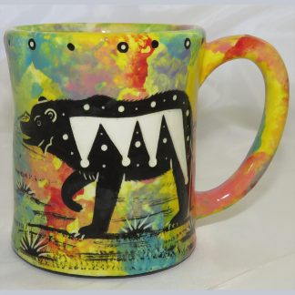 Mana Pottery e-mug featuring bear on one side and native Aravaipa vegetation on reverse, on bright yellow background.