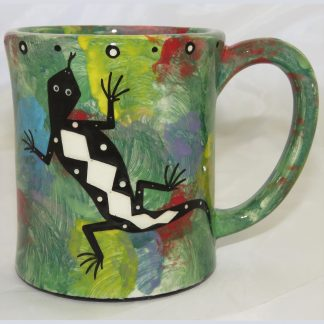 Mana Pottery e-mug featuring gecko on one side and native Aravaipa vegetation on reverse, on green background.