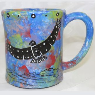Mana Pottery e-mug featuring hawk on one side and native Aravaipa vegetation on reverse, on blue background.