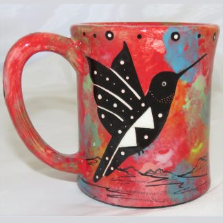 Mana Pottery e-mug featuring hummingbird on one side and native Aravaipa vegetation on reverse, on crimson background.