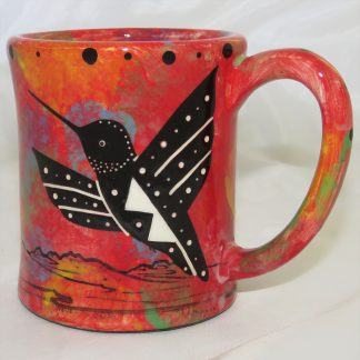 Mana Pottery e-mug featuring hummingbird with spread wings on one side and native Aravaipa vegetation on reverse, on crimson background.