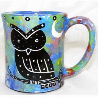 Mana Pottery e-mug featuring owl on one side and native Aravaipa vegetation on reverse, on blue background.