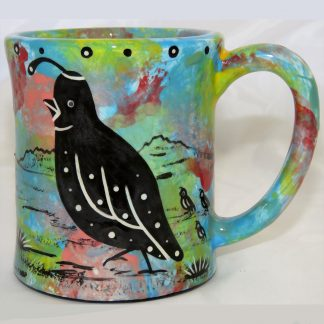 Mana Pottery e-mug featuring quail on one side and native Aravaipa vegetation on reverse, on turquoise blue background.