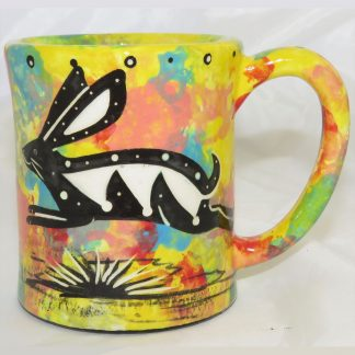 Mana Pottery e-mug featuring rabbit on one side and native Aravaipa vegetation on reverse, on yellow background.