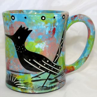 Mana Pottery e-mug featuring roadrunner on one side and native Aravaipa vegetation on reverse, on turquoise blue background.