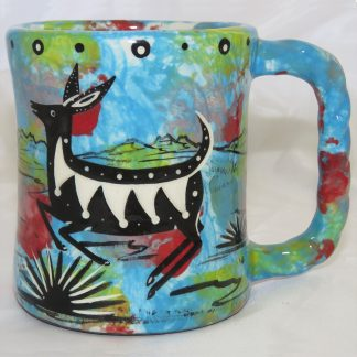 "Mana Pottery rope mug featuring deer on on one side and native Aravaipa vegetation on reverse, on turquoise blue background. The ""rope"" mug has a handle that is shaped like rope."