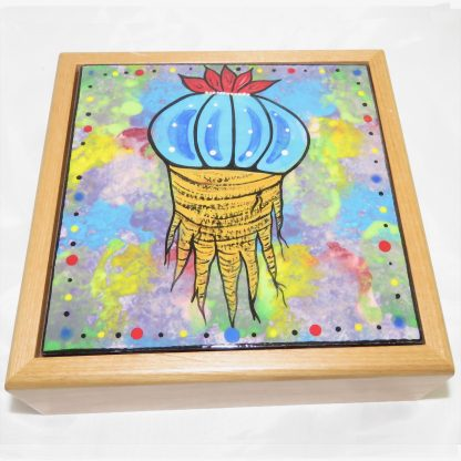 """Mana Pottery wooden box with 6"""" square tile featuring peyote root."""