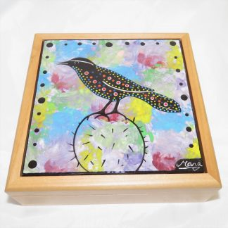 "Mana Pottery wooden box with 6"" square tile featuring Cactus Wren"