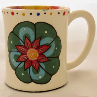 Mana Pottery emug featuring Peyote button on one side and desert vegetation on reverse, on white