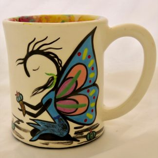 Mana Pottery e-mug featuring Peyote Guardian Spirit on one side and native Aravaipa vegetation on reverse, on white background.