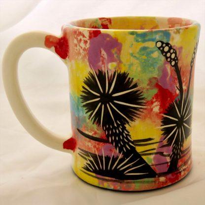 Mana Pottery e-mug featuring Peyote Guardian Spirit on one side and native Aravaipa vegetation on reverse, on white background.