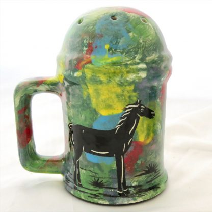 Mana Pottery Salt 'n Pepper Shaker set featuring horse on one side of the shakers and desert vegetation on the reverse.