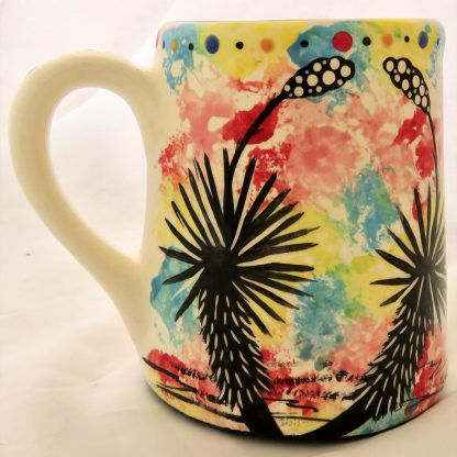 Mana Pottery Extra Large Mug featuring Dancing Peyote on one side and desert vegetation on reverse, on white