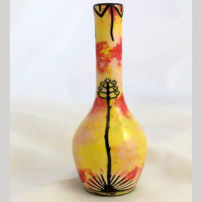 Mana Pottery Slim Chimney Vase with kokopelli on one side and Aravaipa desert vegetation on reverse