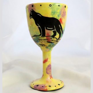 Goblet with cougar on bright yellow