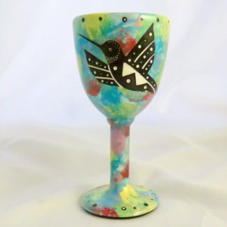 Goblet with hummingbird on turquoise blue and native Aravaipa desert vegetation on reverse