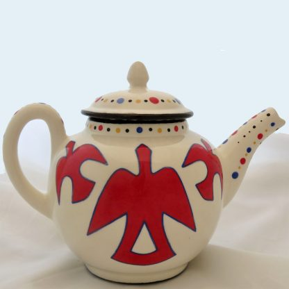 Mana Pottery Peyote and Firebird teapot (firebird side)