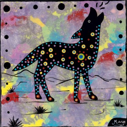 Mana Pottery coyote design on 6 inch clay tile