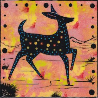 Mana Pottery deer design on 6 inch clay tile