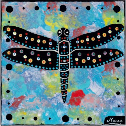 Mana Pottery dragonfly design on 6 inch clay tile