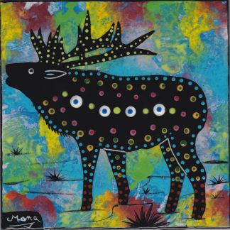 Mana Pottery elk design on 6 inch clay tile