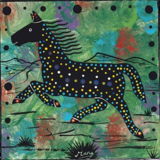 Mana Pottery horse design on 6 inch clay tile