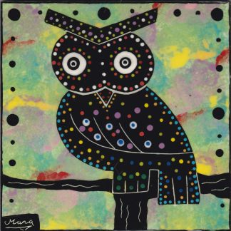 Mana Pottery owl design on 6 inch clay tile
