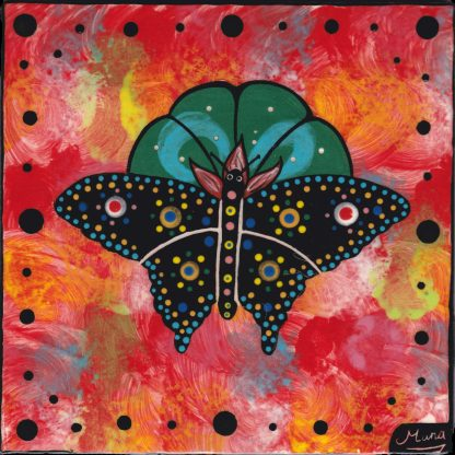 Mana Pottery butterfly on peyote button design on 6 inch clay tile