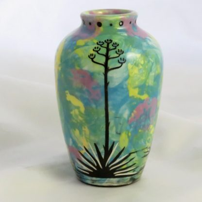 Five inch vase with deer on one side and native Aravaipa vegetation on reverse