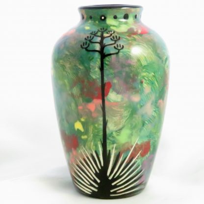 Five inch vase with gecko on one side and native Aravaipa vegetation on reverse