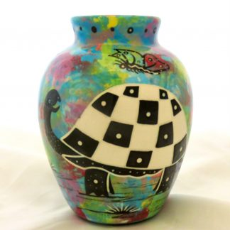 Six inch vase with turtle with Aravaipa vegetation on reverse side.