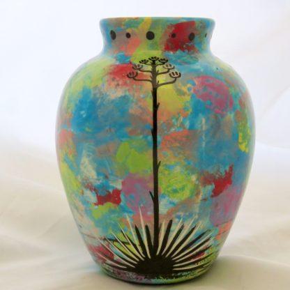 Six inch vase with turtle with Aravaipa vegetation on reverse side.