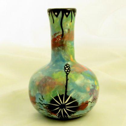 Mana Pottery Chimney Vase with hawk in flight on one side and Aravaipa desert vegetation on reverse