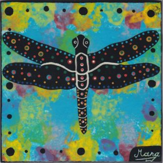 photo showing Mana Pottery dragonfly design on 6 inch clay tile