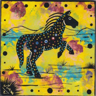photo showing Mana Pottery horse design on 6 inch clay tile