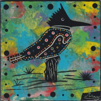 photo showing Mana Pottery kingfisher design on 6 inch clay tile
