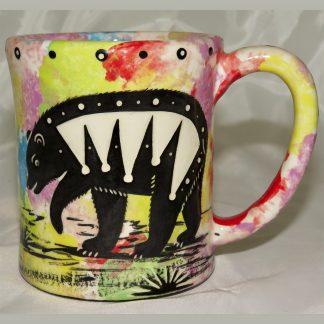 Mana Pottery e-mug featuring bear and desert landscape on reverse sides, on confetti background.