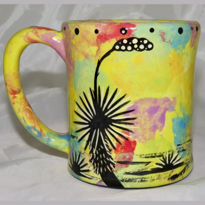 Mana Pottery e-mug featuring bison and desert landscape on reverse sides, on bright yellow background.